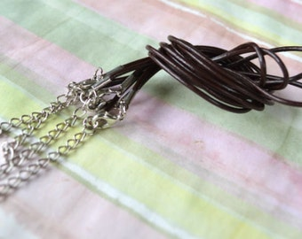 6pcs Leather Cord Necklaces Brown 16 18 24 Inches Lobster Claw Clasps
