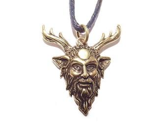 Bronze Cernunnos Horned God Celtic Pendant