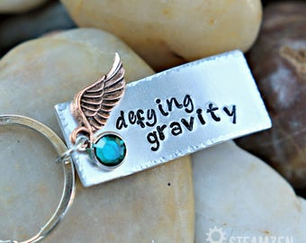 """Wicked Musical Inspired """"Defying Gravity"""" Key Chain with Swarovski Crystals - Actor Gift - Theater Gift - Bestfriends Gift - Unisex"""