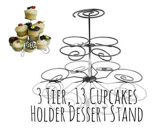 3 Tier Silver Metal Cupcake Stand, Tiered Metal Cupcake Holder, Wedding Cupcake Stand, Wedding Dessert, Wired Spiral Portable Cupcake Holder