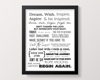 Dream, Wish, Inspire Word Wall Art
