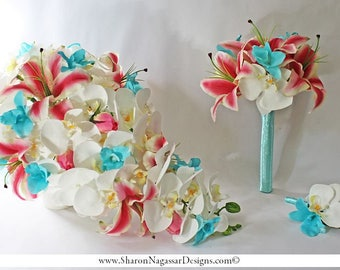 Aqua/pool/blue/turquoise, pink/deep pink, cascade/cascading, bouquet, Real Touch Flowers, Bride, Groom, wedding, set, orchids, lily/lilies