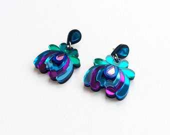 Tropical Floral Drop Earrings- Jewel.Laser-Cut Mirror Acrylic Flower, Surgical Steel Backs Mirrored Perspex Jewel Blues Turquoise Pink Green