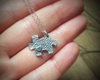 Puzzle Piece with Heart Necklace, Friendship Jewelry, Special Needs Mom Autism Christmas Gift, Back to School Gift, Teacher Appreciation,