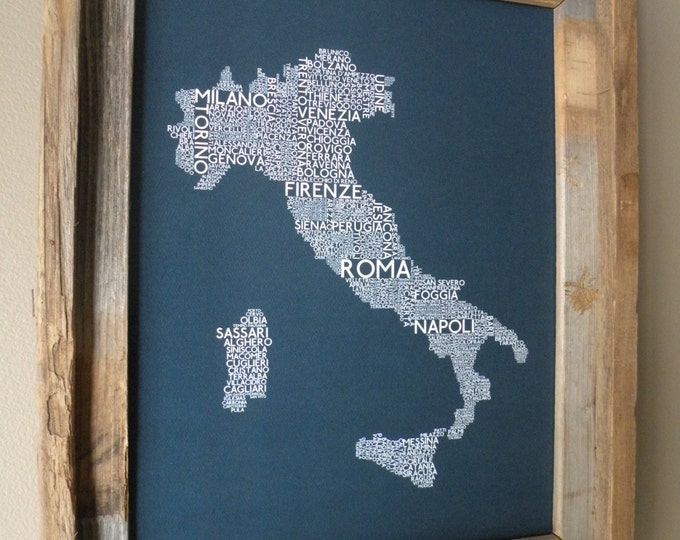 Cities of Italy Word Art Map (Blue) - Unframed