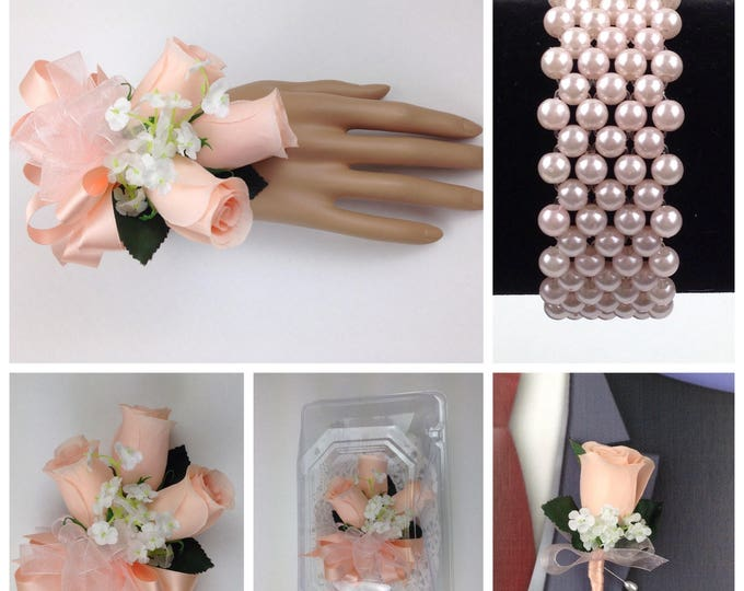Silk Bellini Rose Corsage, Bellini Prom Corsage,Bellini Men's Lapel Flower, Bellini Buttonhole