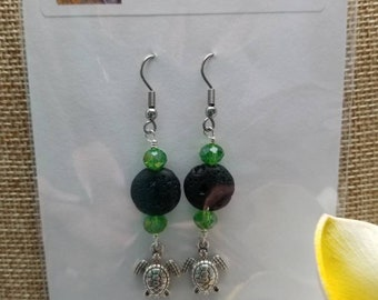 Lava Bead/Turtle Earrings