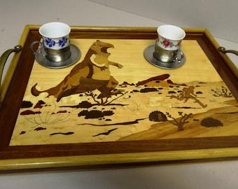 """MARQUETRY tray """"BD"""" dressed in wood veneer 49 X 38"""