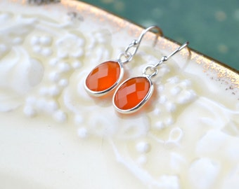 Carnelian Earrings, Gemstone Earrings, Dainty Drop Earrings, Sterling Silver Carnelian Jewelry, Orange Earrings, UK, Orange Gifts, For Her