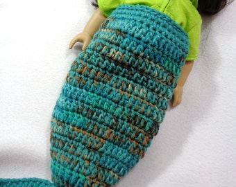18 Inch Doll Mermaid Tail, American Girl Doll Mermaid Blanket, Gift for Girl, Birthday Present for Granddaughter, Teal and Browns