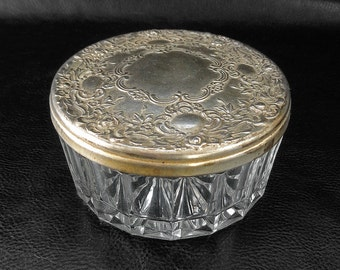 Ornate trinket box, vintage glass ring box with ornate repousse silver plated metal lid with mirror