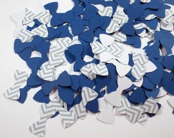 """Mini Bow Tie Confetti, Little Man Party Decoration, Gray Chevron & Navy Bow Tie Confetti, 300 Ct., 1"""", Table Decor"""