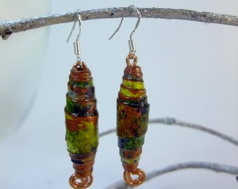 Handmade paper bead earrings, hand painted paper, varnished for protection, sterling silver 925 ear wires, hand-formed copper spiral hanger.