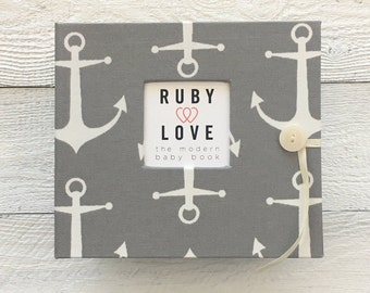 BABY BOOK | Gray Sailor Anchors Album