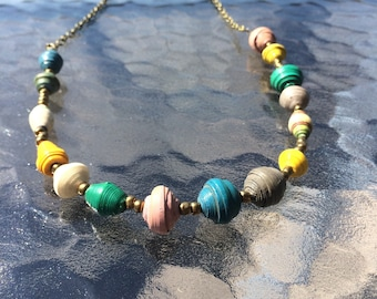 Colorful African Paper Bead Necklace 2.0
