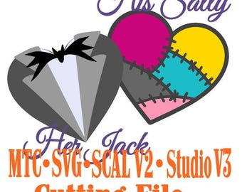 SVG Cut File Jack & Sally Valentine Heart Set #02 Wedding Haunted Mansion Anniversary Cut Files MTC SvG SCAL