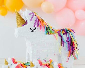 "Unicorn Pinata, 1 Rainbow Unicorn, Unicorn Party, Unicorn Decoration, Unicorn Birthday Pinata, 15"" Unicorn Pinata"