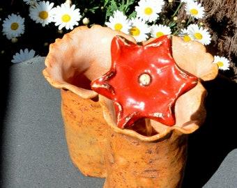 Eternal red flower on brass Bobby pin glazed earthenware