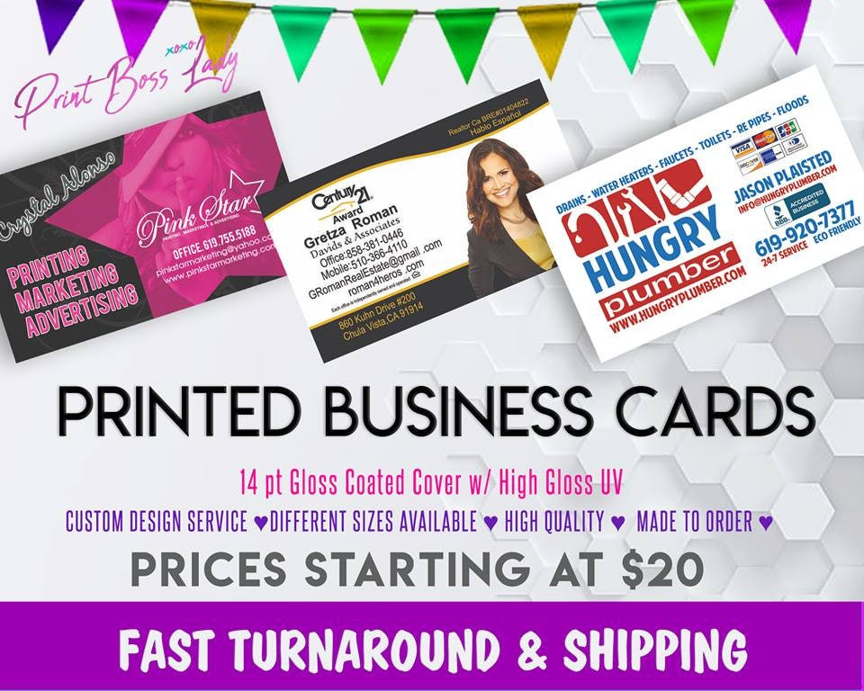 PRINTED Business Cards Full Color Business Cards Front &