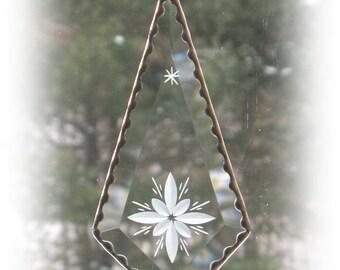 "Bevel Glass, Star engraved  3"" x 7"" teardrop clear bevel suncatcher, stone wheel engraved suncatcher, Window Hanging, Art Glass,  BV 110"