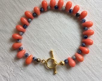 Coral and sodalite bracelet