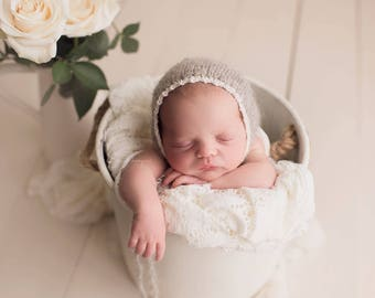 Newborn Knit Bonnet, Lace Trim - Brushed Alpaca, Newborn Prop