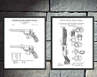 Framed Firearm Patent Prints - 2 Pack Assortment - Revolver and Shotgun (Multilple Sized Frames)