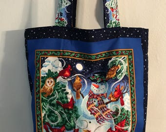 "Snow Man and Friends  w/two tone matching handles cotton fabric handmade 16"" Tote Bag"