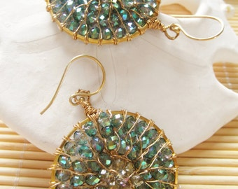 35mm Ring Chandelier Earrings with Crystals Item EGR1202