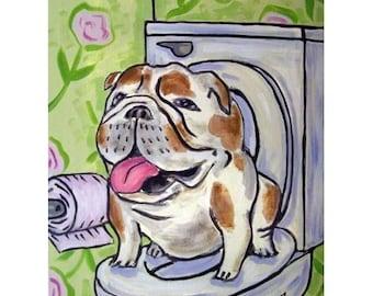 bulldog art - BULLDOG art PRINT -  modern dog art print, bathroom art,bulldog print, dog print