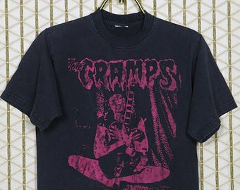 The Cramps vintage rare T-shirt, faded black tee shirt, Lux Interior, Poison Ivy Rorschach, horror punk, goth