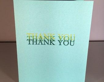 Letterpress Thank You Note, Letterpress Thank You Card, Letterpress Thank You, Thank You Note, Thank Card, Letterpress, Thank You, Thanks