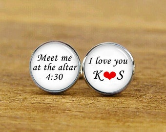 meet me at the altar cufflinks, custom name, date, i love you cuff links, custom wedding cufflinks, round, square cufflinks, tie clips, set
