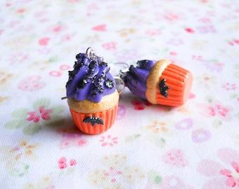 Cute Halloween Earrings, Cupcake Earrings, Halloween Cupcake, Halloween Treat, Goth Earrings, Polymer Clay, Sweet Lolita, Bat, Food Earrings