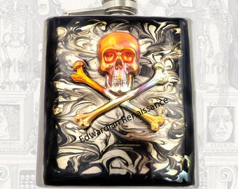 Verdigris Skull and Cross Bones Flask Inlaid in Hand Painted Enamel Neo Victorian Hip Flask Custom Colors and Personalized Options