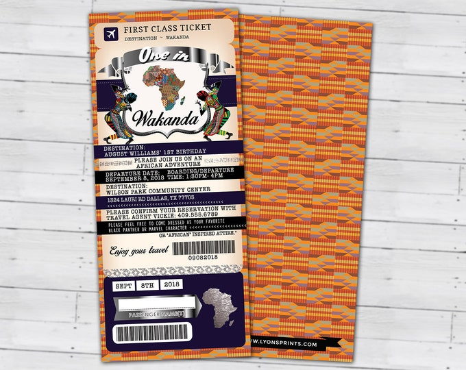 PASSPORT and TICKET Birthday invitation, Wakanda, Africa Passport, African Birthday, African Birthday, Digital files only
