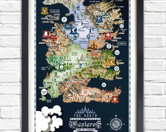 Westeros map etsy game of thrones the south westeros map 19x13 poster gumiabroncs