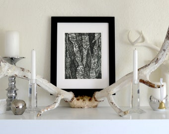 "Tree Bark Freehand Ink Drawing Limited Edition Print, Signed, Numbered, 8"" x 10"""