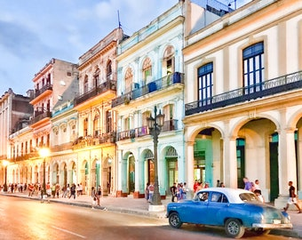 Colors of Old Havana, Classic Car Photo, Cuba Art Print, Canvas, Cuban Decor, Large Wall Art, Travel Photo, Cuba Photography