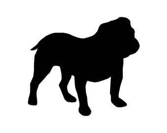 English Bulldog Dog Breed Silhouette Custom Die Cut Vinyl Decal Sticker - Choose your Color and Size