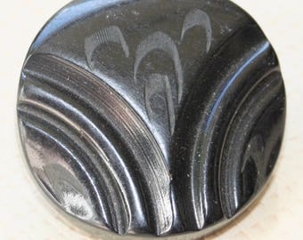 Black Bakelite Button with Arc Pattern