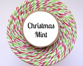 Christmas Mint Trendy Bakers Twine - Red, White, & Lime Green - for Gift Wrap, Packaging, DIY Tags, Baking, Favors, Treats, Holiday