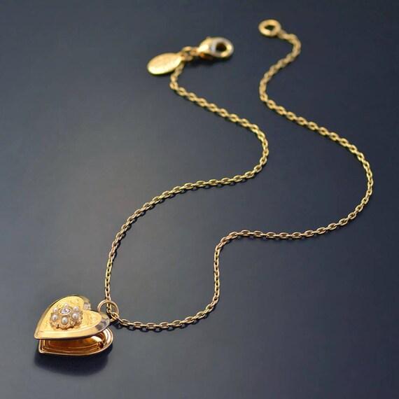 Lovely Little Girls Heart Locket Necklace Flower Girl Necklace VD74