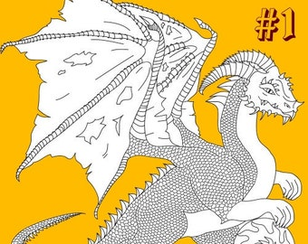Dragons 5 Adult Coloring Pages (#1)