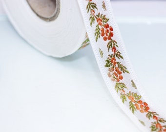26 mm White Front Orange Floral Jacquard ribbon (1.02 inches) - Jacquard trim - Balkans Decorative Ribbon - Sewing Trim - Collar Trim