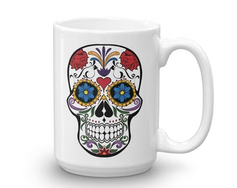 """Sugar Skull Mug Festival of the Dead Sugar Skull Coffee Mug Sugar Skull Mug, Day of the Dead """"Dia De Los Muertos"""" Coffee Mug"""