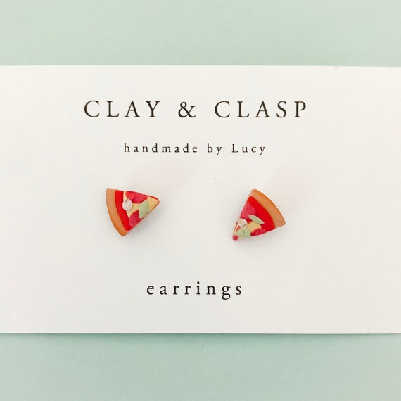 Pizza Earrings - beautiful handmade polymer clay jewellery by Clay & Clasp