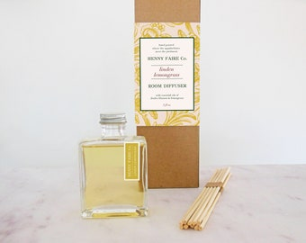 linden lemongrass reed diffuser | minimalist room diffuser with clean floral citrus fragrance | 5 oz bottle + 10 reeds