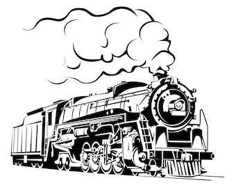 Steam Train Vintage Retro Locomotive Silhouette