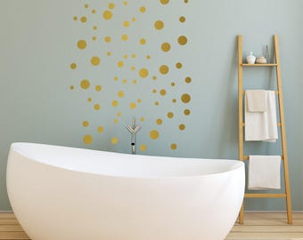 Gold Polka Dot Wall Stickers, Gold Dot Wall Decal, Wall Dots, Polka Dot Wall Decor, Vinyl Wall Dots, Gold Circle Wall Stickers, 3 SIZES